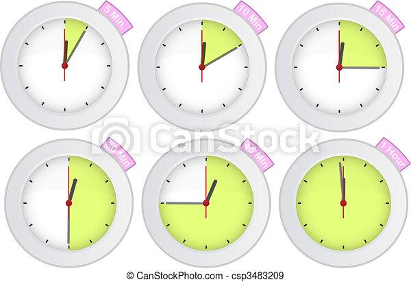 Vecteurs eps de minuteur horloge 5 10 15 30 45 - Minuteur 10 minutes ...