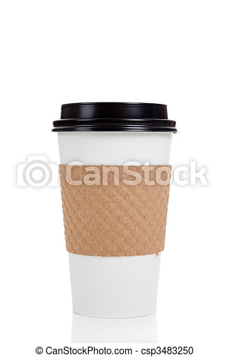 Row of paper coffee cups on white - csp3483250