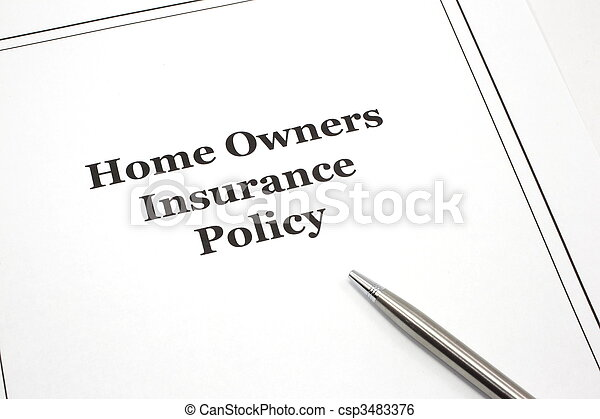 Home Owners Insurance Policy with a pen - csp3483376
