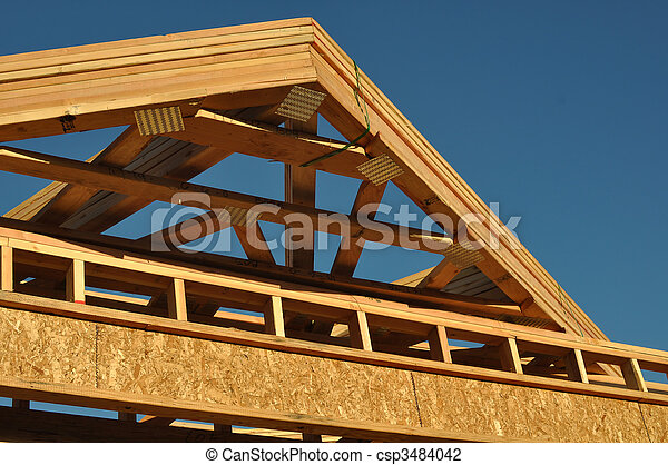 Construction of New Roof on Home - csp3484042