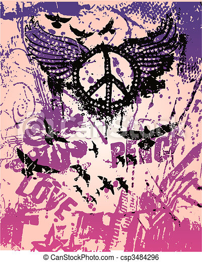 peace sign pop art poster - csp3484296