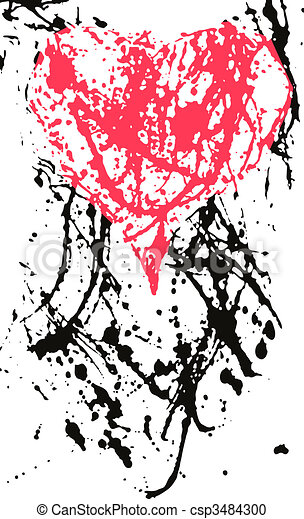 heart in ink splash effect - csp3484300