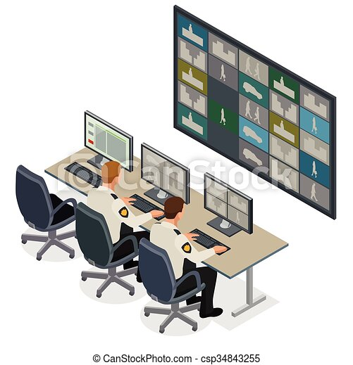 Clipart Vector Of Security Guard Watching Video Monitoring