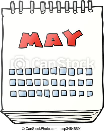 EPS Vectors of cartoon calendar showing month of may - freehand ...