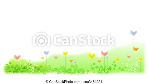 heart flower in green lawn - csp3484921