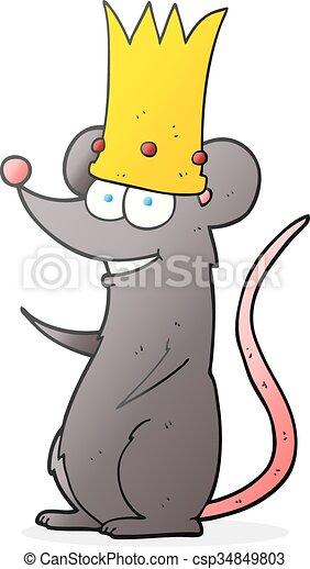 Vector Clipart of cartoon king rat - freehand drawn cartoon rat ...