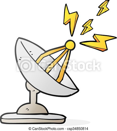 Vector Clip Art of cartoon satellite dish - freehand drawn cartoon ...