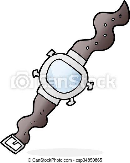 Armbanduhr gezeichnet  Clip Art Vektor von armbanduhr, karikatur - freehand, gezeichnet ...
