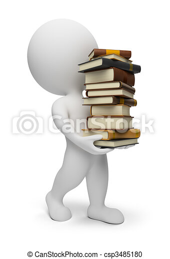 3d small people - carrying books - csp3485180