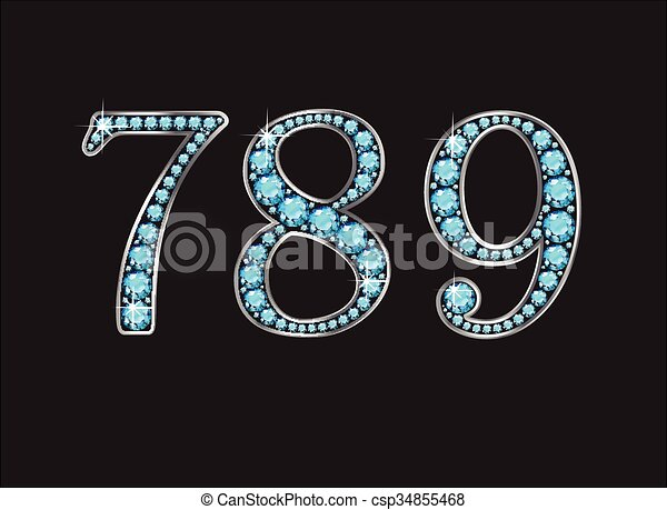 Clip Art Vector of 7, 8 and 9 in Aquamarine Jeweled Font Jeweled ...