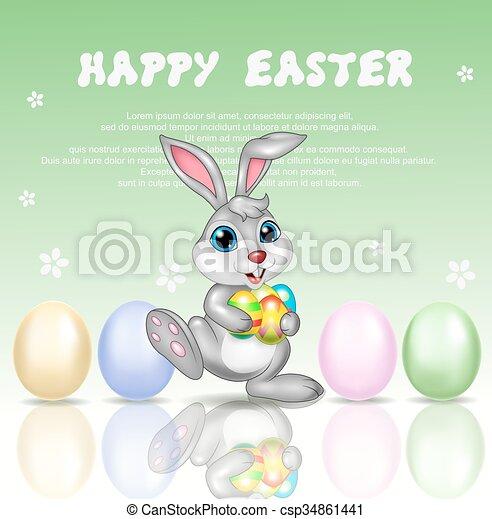 Cartoon bunny with happy Easter  - csp34861441