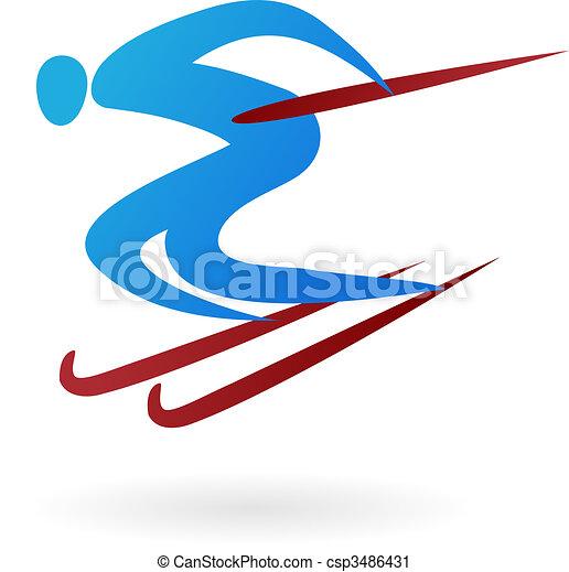 Vector Clip Art of Sport vector figure - ski - Silhouette of a ...