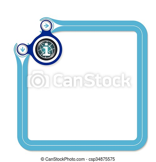 Blue frame for your text and globe symbol and info symbol - csp34875575