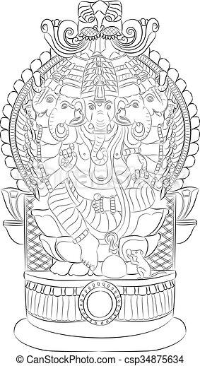 Vector. God Ganesha. - csp34875634