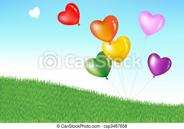 Colorful Heart Shape Balloons - csp3487658