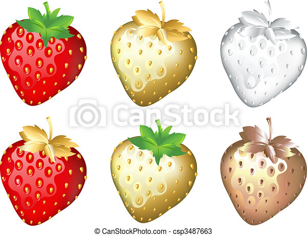 Strawberry Set, Isolated On White - csp3487663