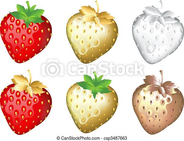 Strawberry Set, Isolated On White - csp3487663
