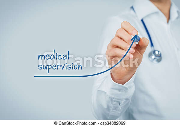 Better access to medical and healthcare supervision concept. Doctor (medical practitioner) want to increase number of patients with medical healthcare supervision and health insurance.