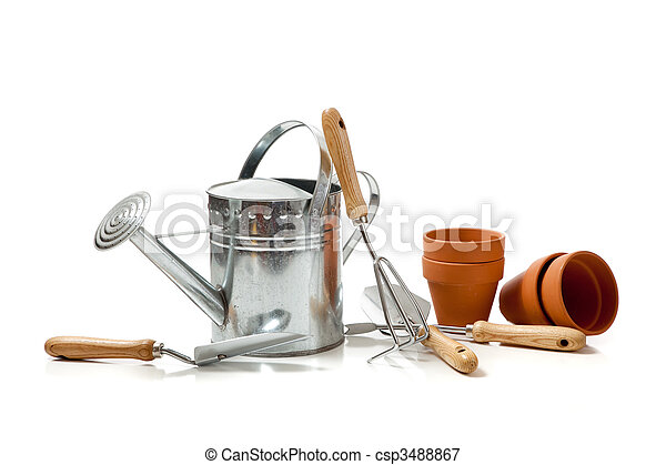 Assorted gardening supplies on a white background - csp3488867