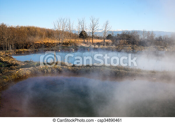 the background with lake in fog - csp34890461