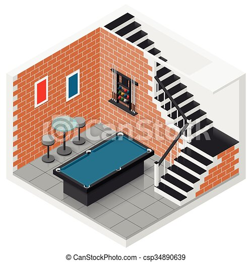 vettori di seminterrato isometrico set icona basement