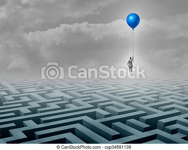 Innovative medical innovation as a medic healthcare professional floating above a complicated maze as a success and cure metaphor for discoveries in medicine and biology sciences for human health.