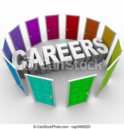 Careers - Word Surrounded by Doors - csp3489220