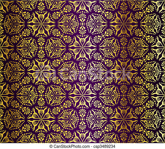 Purple and gold seamless arabesque - csp3489234
