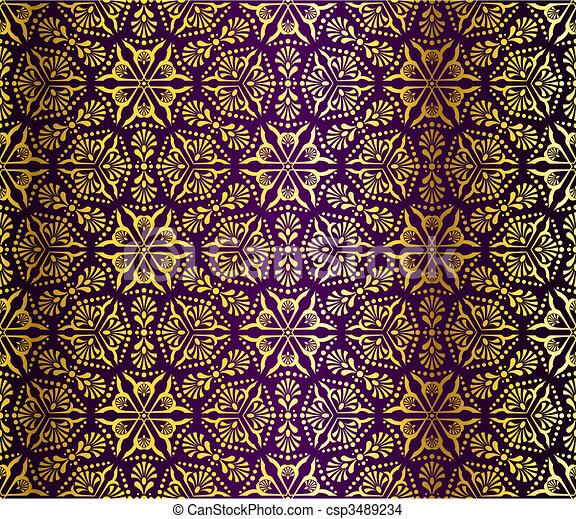 Purple and gold seamless arabesque - csp3489234
