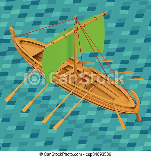 Vector of Sailing boat isometric vector illustration. Oar boat icon.... csp34893586 - Search ...