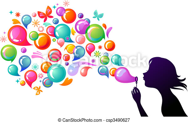 Blowing soap bubbles - 2 - csp3490627