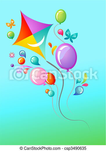 Kite and balloons - csp3490635