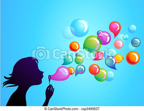Blowing soap bubbles - 1 - csp3490637
