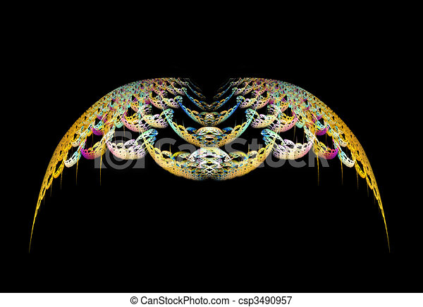 Gold Abstract Wings - csp3490957