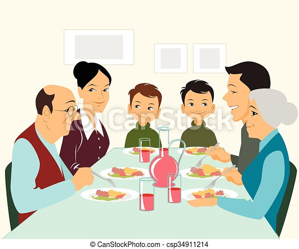 Big family eating Clip Art Vector and Illustration. 42 Big family ...