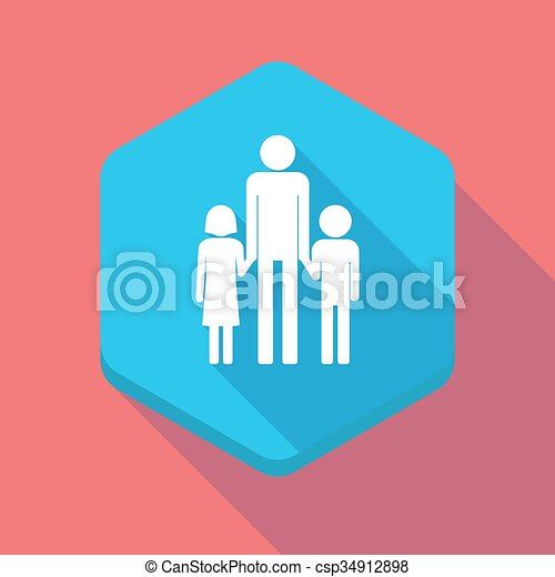EPS Vectors of Long shadow hexagon icon with a male single ...