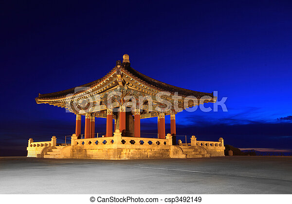 Korean Friendship Bell Landmark in San Pedro California - csp3492149