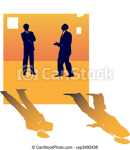 Two business silhouettes of people talking about job lose. - csp3492438