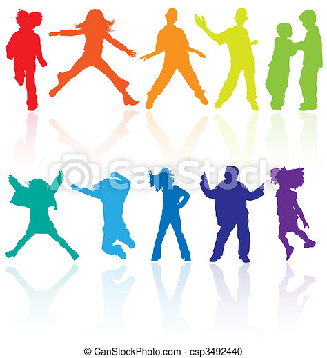 Set of colored dancing, jumping and posing teenagers vector silhouettes with reflection. - csp3492440