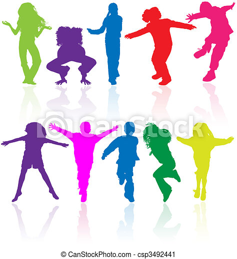 Set of colored active children vector silhouettes with reflection. - csp3492441