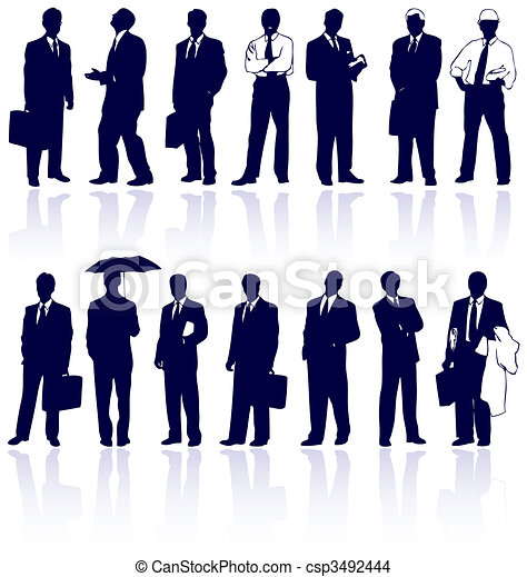 Set of vector business people - csp3492444