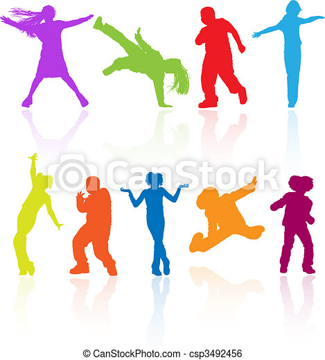 Set of colored dancing, jumping and posing teenagers vector silhouettes with reflection. - csp3492456