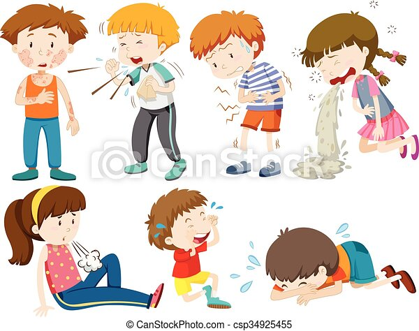 Clipart Vector of Boys and girls being sick illustration ...
