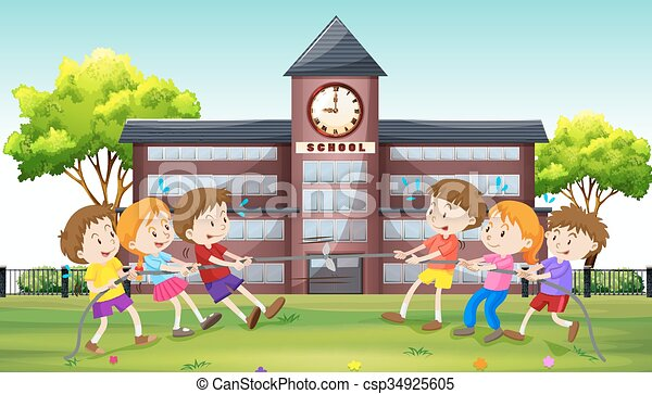 Vector Clipart of Children playing tug of war at school ...