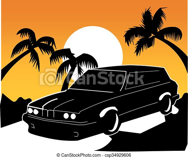 BMW car in sunset - csp34929606