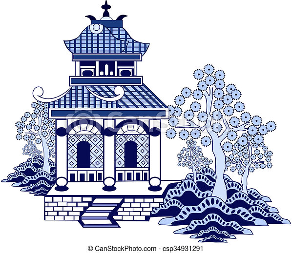Stock Illustration Of Willow Pattern House Csp34931291