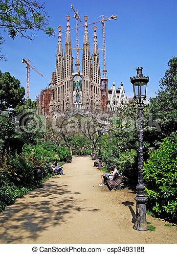 Street light in the park near Sagrada Familia. Barcelona, Spain. - csp3493188