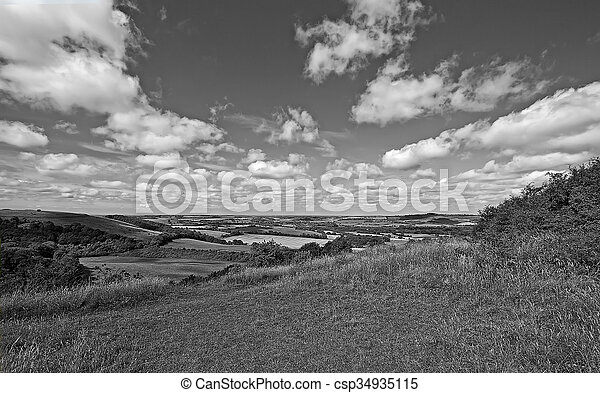 Old Winchester Hill in b&w - csp34935115