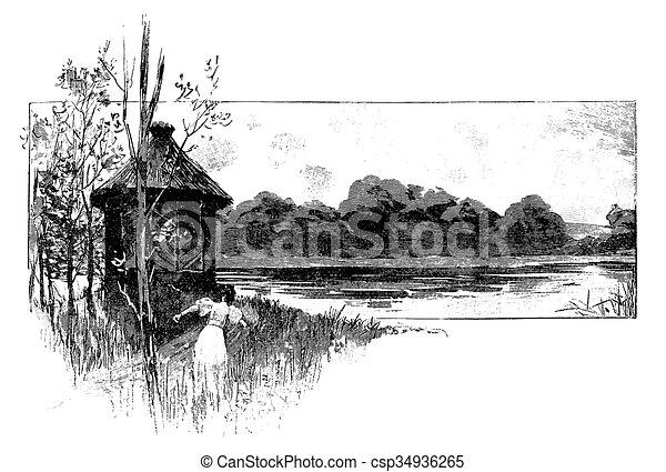Stock de ilustracion de ambulante, cabaña, frontera, lago, niña ...