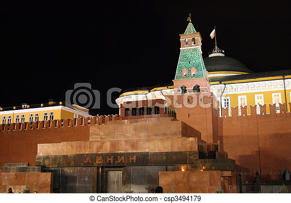 Lenin mausoleum on red square, Moscow - csp3494179